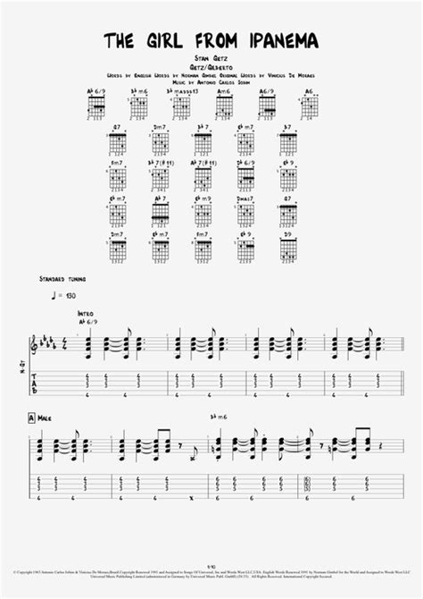 The Girl from Ipanema by Stan Getz - Full Score Guitar Pro