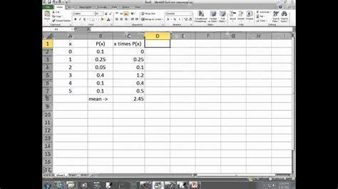 Excel 2010: Mean, Standard Deviation, and Variance of a