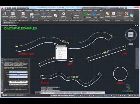 DimCurve - dimensioning curve length in AutoCAD - YouTube