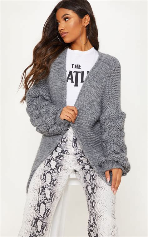 Grey Knitted Bubble Sleeve Cardigan   PrettyLittleThing